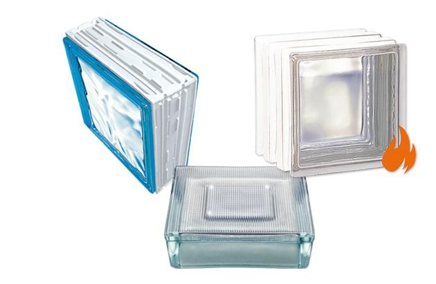 Brique de verre Cubiver, pavé lumineux Lumi-sol et Brique coupe feu