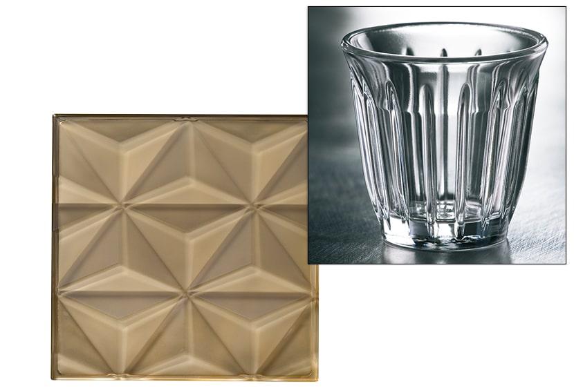 Motif pyramide sur Carreau en verre Facet et aillette de la tasse expresso Zinc design Fabrice Gibilaro