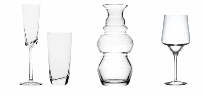 Flûte et long drink Kai, Carafe Loof et verre Sydney, Designer Kai Richter