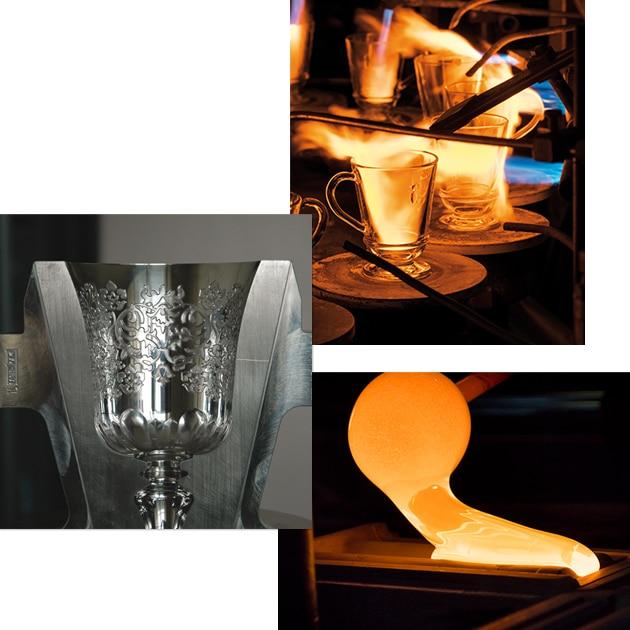 moule acier verre Amboise, rebruleuse et fabrication d'une tuile en verre