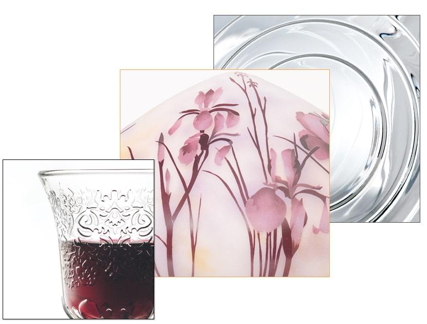 Détail motif Amboise, verre cristallin multi-couche motif Iris, motif Fresnel (brique en verre)