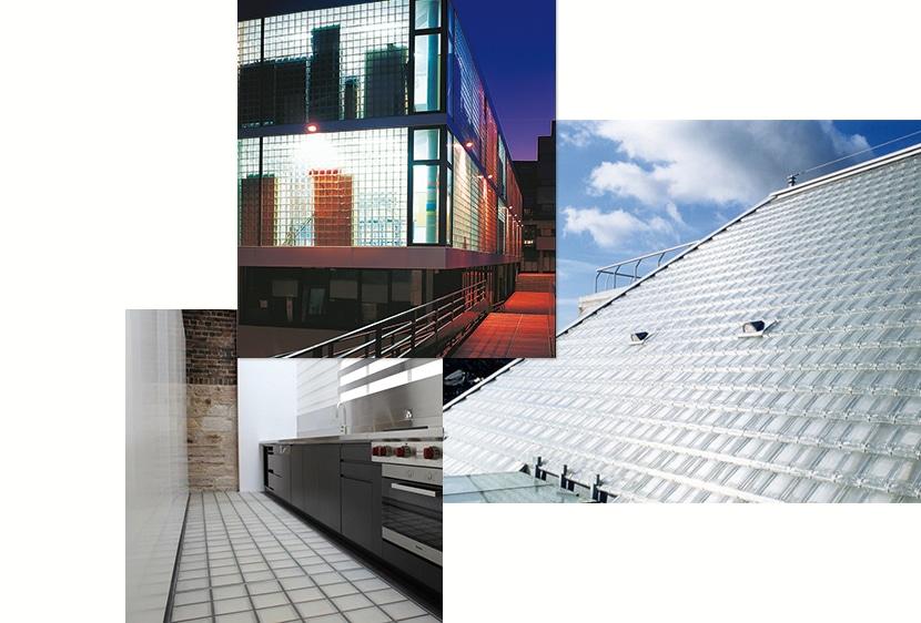 réalisations briques, pavé et tuiles en verre