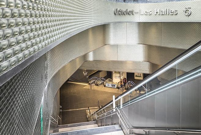 Carreau Métro Châtelet-les-Halles, Design Jacques Anziutti & Patrick Berger